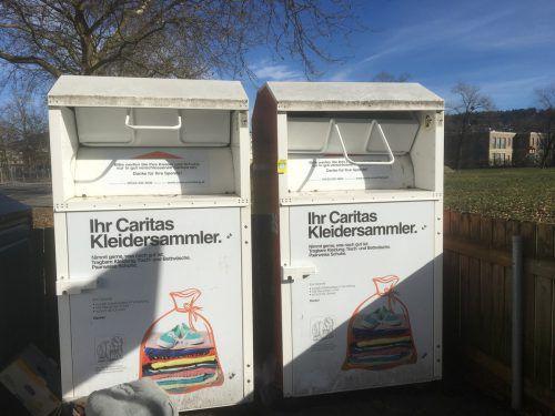 450 solcher Altkleidercontainer betreibt die Caritas über das ganze Bundesland verteilt. VN-pes