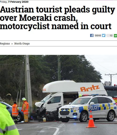 """Auch die """"Otago Daily Times"""" berichtete über den tragischen Unfall. Screenshot"""