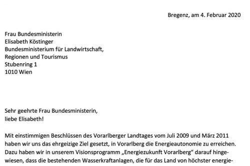 Brief an Ministerin Elisabeth Köstinger.