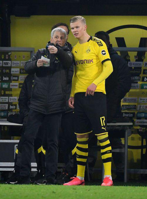 BVB-Trainer Lucien Favre und sein Goldjunge Erling Haaland.ap