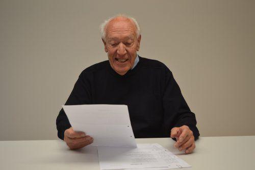 Das Bregenzer Original Walter Gasser präsentiert am 1. März im vorarlberg museum seinen Gedichtband. em