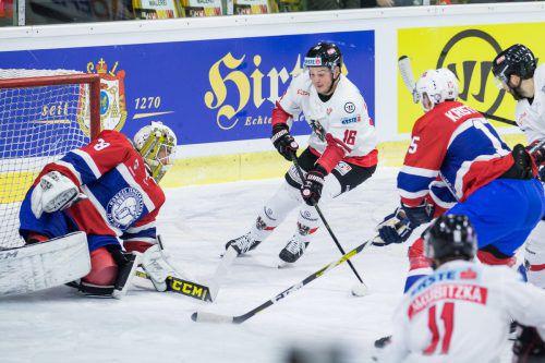 Der Dornbirner Dominic Zwerger erzielte beim Österreich-Cup in Klagenfurt den Treffer zum 2:0 gegen Norwegen. Heute trifft das Nationalteam im Finale auf Dänemark.gepa