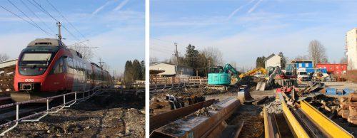 In Hard halten die Züge in einer Baustelle . . ., denn Bagger lassen keinen Stein auf dem anderen. STRAUSS