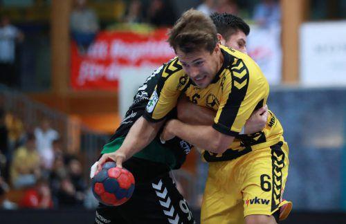 Im Gegensatz zur 24:29-Niederlage Ende September dürfen sich Lukas Frühstück und Bregenz diesmal nicht von Bärnbach/Köflach stoppen lassen.GEPA