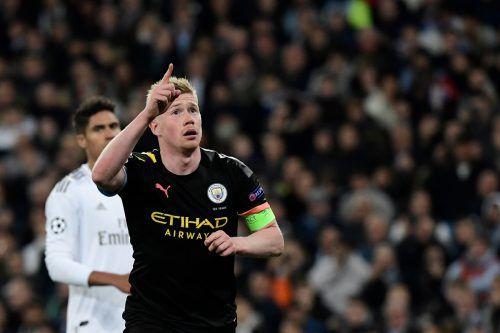 Kevin De Bruyne erzielte per Elfmeter den 2:1-Treffer für Manchester City bei Real.apa