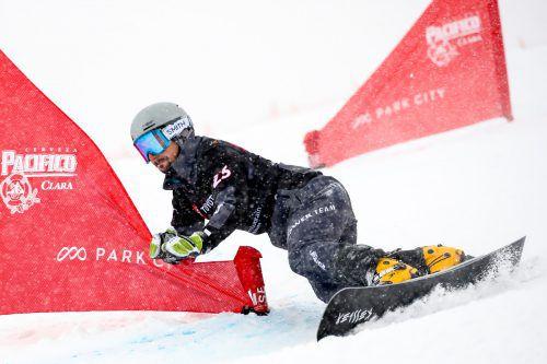 Lukas Mathies liegt im Riesentorlauf-Weltcup auf dem 17. Platz.gepa