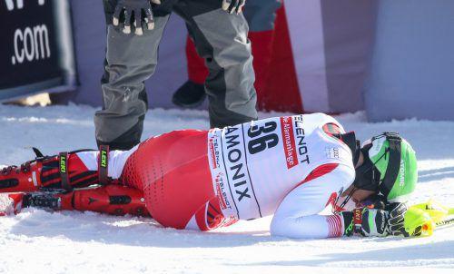 Marc Digruber fuhr den Weltcupslalom in Chamonix zu Ende, belegte Platz 21. Bei einem Fast-Sturz im zweiten Lauf zog er sich einen Riss des vorderen Kreuzbandes im linken Knie zu.gepa
