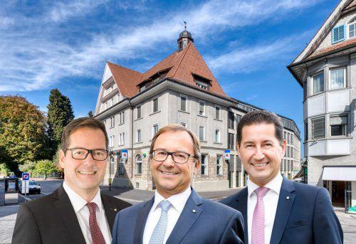 Martin Jäger (li.), Vorstandschef der Sparkasse Bregenz, wechselt als Nachfolger von Werner Böhler nach Dornbirn und führt die Bank zusammen mit Harald Giesinger (re.). FA