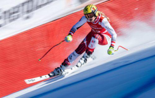 Nina Ortlieb hatte die Kandahar-Strecke in Garmisch-Partenkirchen trotz Torfehler schon gut im Griff.gepa