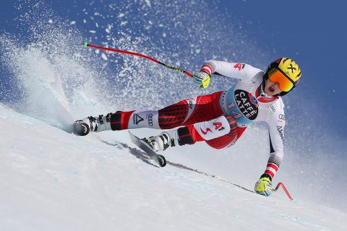 Nina Ortlieb markierte für die heutige Weltcupabfahrt in Crans-Montana die mit Abstand schnellste Zeit im einzigen Trainingslauf.GEPA