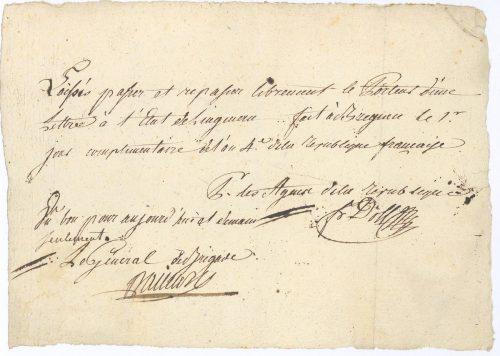 Passierschein aus dem Jahr 1796 für die Reise von Lingenau nach Bregenz, datiert nach dem französischen Revolutionskalender. Vorarlberger privatsammlung