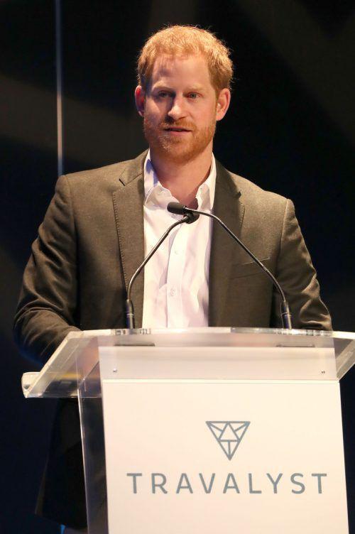 Prinz Harry trat am Mittwoch bei der Veranstaltung der Organisation Travalyst auf. AFP
