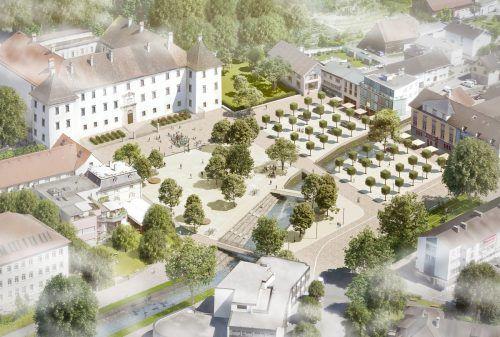 So soll der Schlossplatz nach dem Umbau aussehen.Stadt