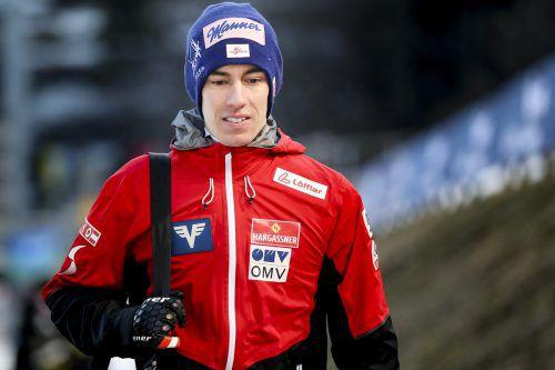 Stefan Kraft geht voll fokusiert in das Skifliegen am Kulm.Gepa