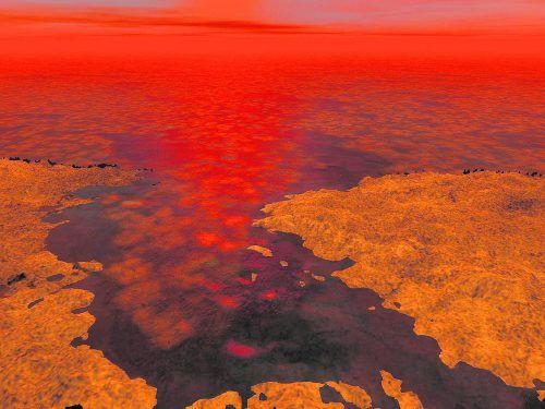 Titan: Seen aus Kohlenwasserstoffen, die besonders an den Polen des Mondes zu finden sind.NASA/Concept