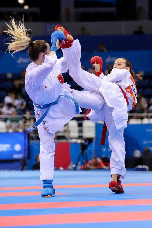 Nach der Premiere in Tokio scheint Karate (im Bild Bettina Plank) in Paris nicht mehr im Programm der Olympischen Sommerspiele auf. GEPA