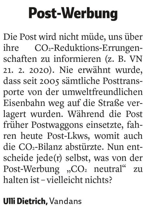 VN-Leserbrief vom 25. Februar 2020.