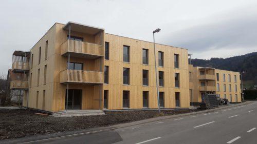 Ähnlich wie die Wohnen500-Anlage in Dornbirn soll auch jene in Bludesch-Gais ausschauen. Diese wird in den kommenden Monaten umgesetzt und bereits Ende dieses Oktobers beziehbar sein.Vogewosi
