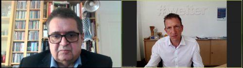 Andreas Scalet (VN) und AMS-Chef Bernhard Bereuter im Livetalk.screenshot
