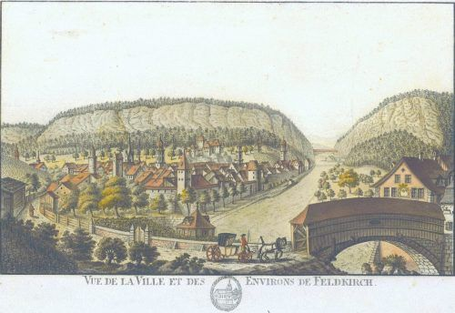Ansicht der Stadt Feldkirch des Lindauer Malers und Zeichners Johann Conrad Mayr, Teil einer Mappe aus dem Jahr 1796, die in St. Gallen herausgebracht wurde. Vorarlberger Privatsammlung