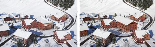Aus einer Lagerhalle – Bild links – wird ein Appartementhaus – Visualisierung im Bild rechts – eine sinnvolle Nachnutzung in Schröcken.