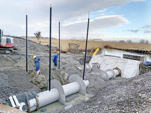 Beide neuen Pumpen leisten je 1250 Liter Wasser pro Sekunde, die in den See geleitet werden.