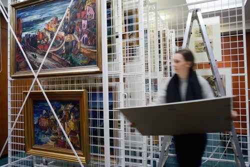 Blick ins Depot mit Arbeiten von Stephanie Hollenstein in Lustenau. Galerie/Klocker