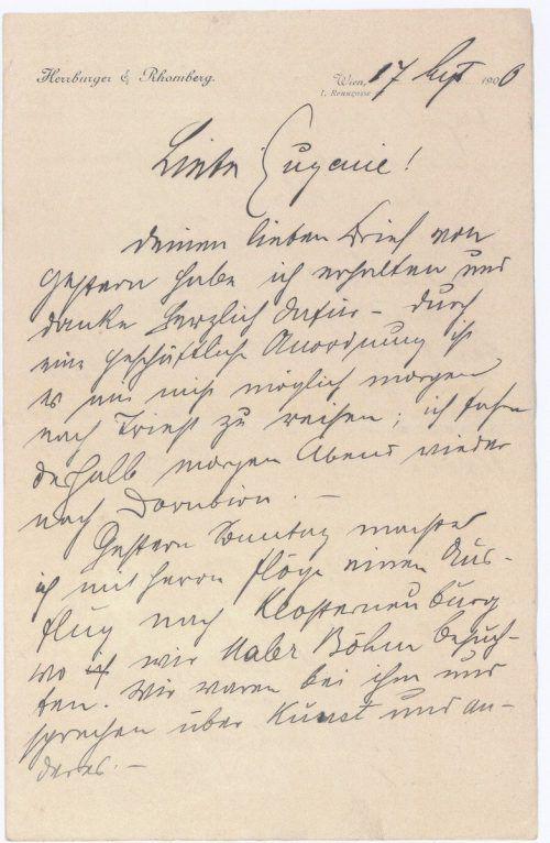 Brief von Julius Rhomberg an seine Frau Eugenie. Vorarlberger Privatsammlung