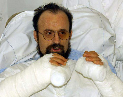 Briefbombenopfer Theo Kelz nach der gelungenen Operation.Reuters