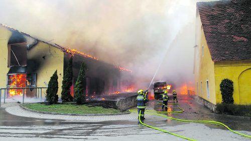 Das gesamte Gebäude stand in Flammen, da Wind das Feuer anfachte. APA