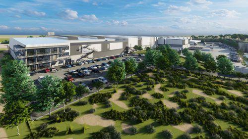 Das in Bau befindliche Gebäude umfasst Produktion, Logistikbereich und Büroräumlichkeiten auf einer Fläche von 30.000 Quadratmetern. FA