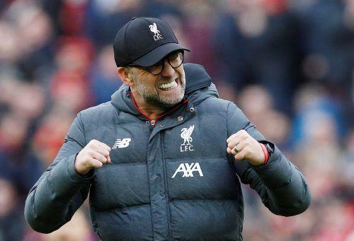 Der Deutsche Jürgen Klopp ist mit dem FC Liverpool auf Meisterkurs. Es wäre der erste Titel nach 30 Jahren.reuters