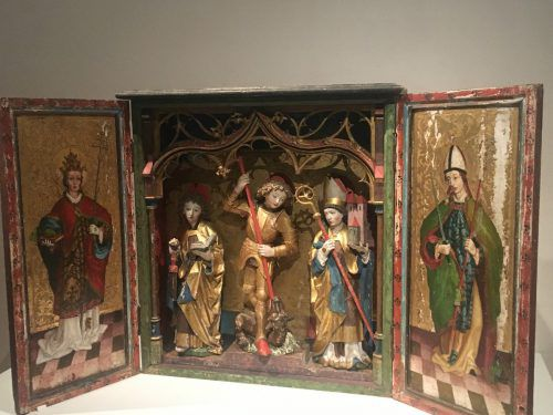 Der Kristberger Flügelaltar mit der Figur des hl. Georg im Zentrum wurde 1477/78 errichtet. VN/CD, Museum,Gehrer