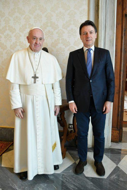 Der Papst traf Conte anlässlich der Corona-Krise zum Gespräch. AFP