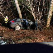 Auto prallt in Tobel gegen Baum