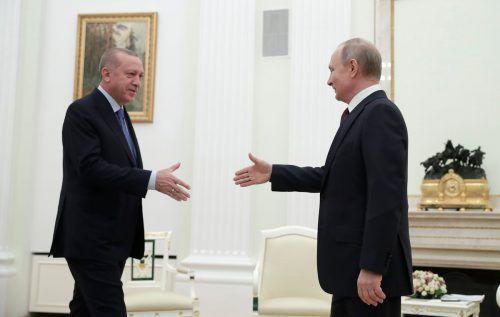Der türkische Präsident Erdogan und Kremlchef Wladimir Putin einigten sich am Donnerstag auf ein gemeinsames Dokument.AFP