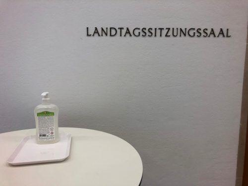 Desinfektionsmittel vor dem Sitzungssaal: Auch Abgeordnete achten auf die Hygiene.