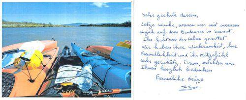 Die geretteten französischen Kajakfahrer schrieben einen Dankesbrief an die Polizei. polizei