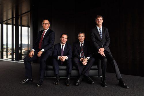 Die Geschäftsleitung von Gebrüder Weiss (v.l.): Jürgen Bauer, Wolfram Senger-Weiss (Vorsitzender), Lothar Thoma und Peter Kloiber. GW