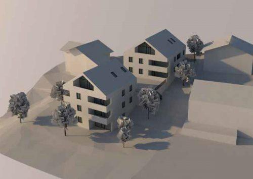 Die Grafik zeigt, wie das leistbare Wohnbauprojekt in Laterns-Thal am Ende aussehen könnte. Alpenländische
