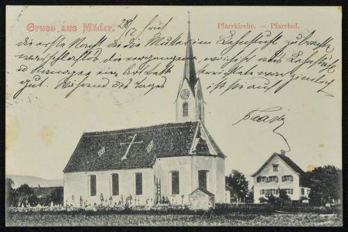 Die Kirche im Jahr 1910. Sie wurde 1931 verlängert.