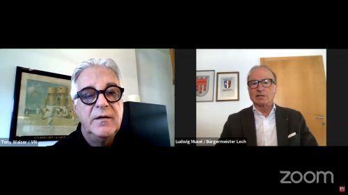 """""""Die Leute haben den Humor nicht verloren"""", sagt Bürgermeister Ludwig Muxel am digitalen VN-Stammtisch."""