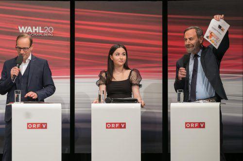 Ece Şahin musste nicht nur einmal ungewollt ein Duell zwischen Dieter Egger (links) und Arnulf Häfele anhören.