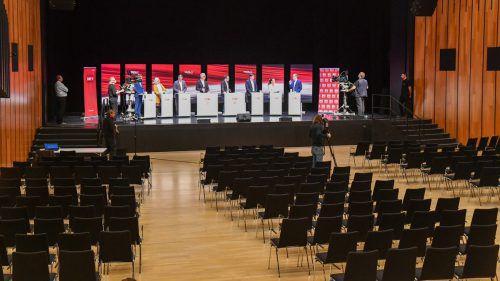 Eine Wahlkampfdiskussion ganz ohne Publikum. Der aktuellen Situation geschuldet, blieb dieses Mal das Publikum zu Hause hinter den Bildschirmen. VN/Lerch