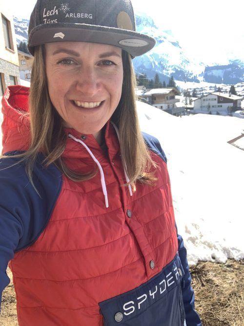 Freeriderin Lorraine Hubert genießt die Ruhe in Lech.privat