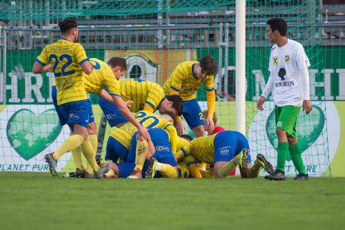 Gejubelt werden soll beim VfB Hohenems auch in den kommenden Jahren.Steurer/Knobel