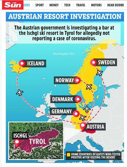 Grafik der britischen Sun über die Heimatländer der infizierten Touristen.