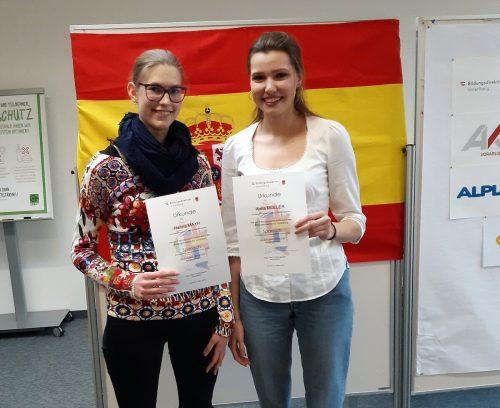 Hanna Mayr und Anna Müller überzeugten mit ihren Spanischkentnissen. BG Feldkirch