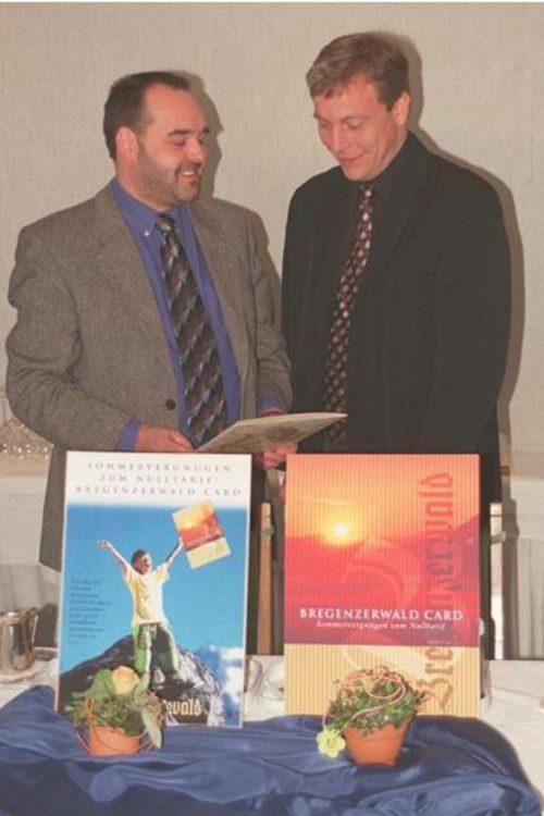 Helmut Blank und Walter Lingg präsentierten 1999 eine neue Card-Dimension. STRAUSS
