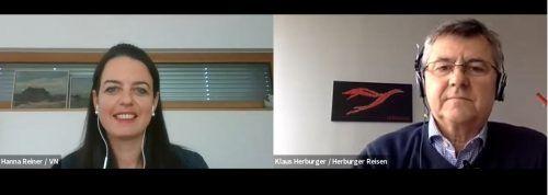 Klaus Herburger im Gespräch mit Hanna Reiner (VN).